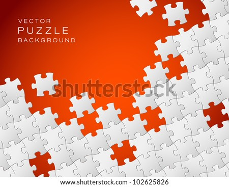 Vector Abstract red background made from white puzzle pieces and place for your content - stock vector