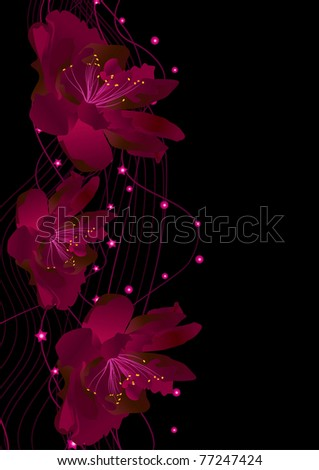 vector abstract red flowers on black background illustration - stock vector