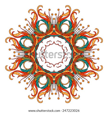 Vector abstract round ornament. Bright colors retro style design element. Can be used for cards, invitations, fabrics, wallpapers, scrap-booking, ornamental template for design and decoration, etc - stock vector