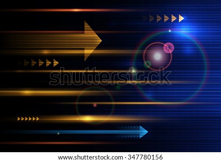 Vector Abstract, science, futuristic, energy technology concept. Digital image of arrow sign, light rays, stripes lines with blue light, speed and motion blur over dark blue background - stock vector