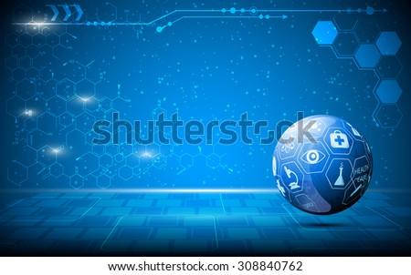 vector abstract science globe innovation concept background - stock vector