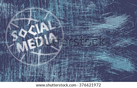 Vector abstract scratched background and transparent social media symbol - stock vector