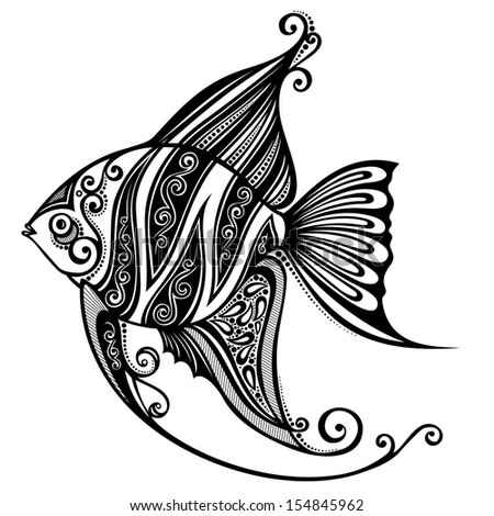 Vector Abstract Sea Fish. Patterned design - stock vector