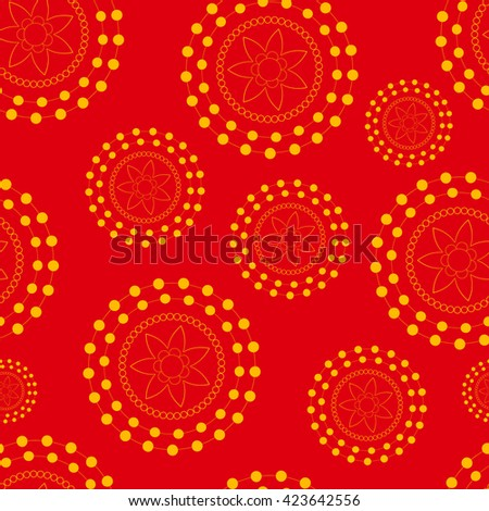 Vector abstract seamless doodle bright pattern with circle and ellipse and dot and line on the red background.