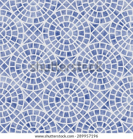Vector abstract seamless geometrical pattern with blue watercolor texture on a light grey background - stock vector