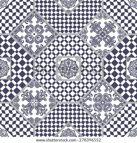 Vector abstract seamless patchwork background from dark grey blue and white ornaments, geometric Moroccan patterns, stylized flowers and leaves - stock vector