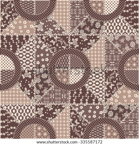 Vector abstract seamless patchwork pattern with geometric and floral  ornaments, stylized flowers, dots, snowflakes and lace. Vintage boho style. - stock vector