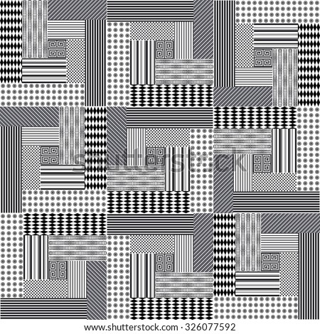 Vector abstract seamless patchwork pattern with geometric   ornaments,  dots and lace. Vintage boho style. Black and white - stock vector