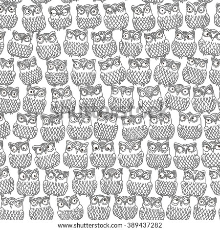 Vector abstract seamless pattern from dark grey little owl silhouette with decorative ornaments on a white background. Fish scale order. Thin line contour illustration. Adults coloring Book page - stock vector