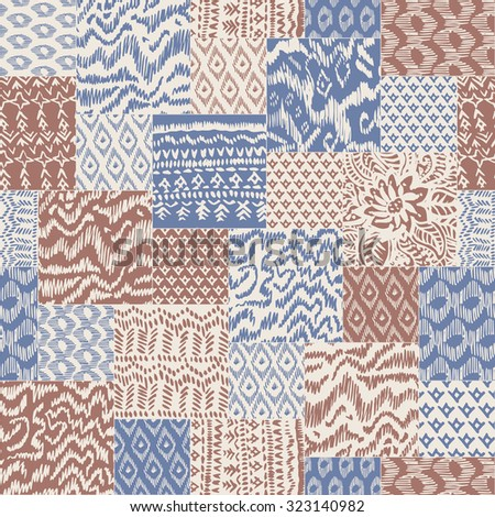 Vector abstract seamless pattern from grey blue, red terracotta and light beige hand drawn ornaments, wavy stripes and fantasy leaves with flower. Textile patchwork vintage print  - stock vector