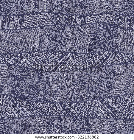 Vector abstract seamless pattern from indigo blue and light beige hand drawn outline geometrical ornaments, wavy stripes and fantasy leaves with flower.Textile wavy patchwork print.Coloring book page
