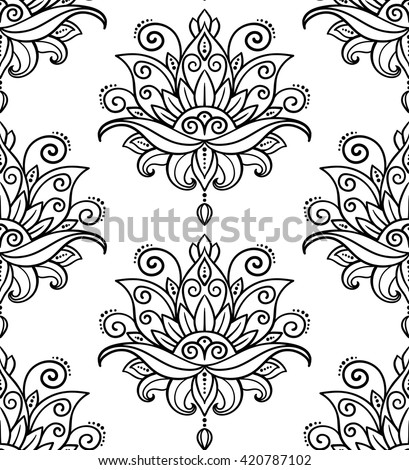 vector, abstract, seamless pattern, oriental style, flower, lotus, design element, doodle,  yoga, medallion, hand-drawing, spa, art, plant, summer, illustration, boho - stock vector