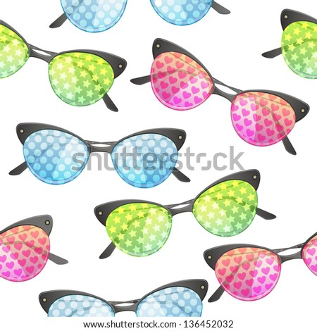 Vector abstract seamless pattern with bright funny sunglasses on white background - stock vector
