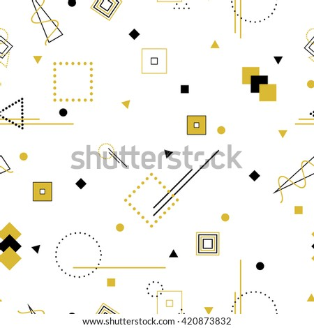 Vector abstract seamless pattern with contour geometric shapes. Retro memphis hipster style, fashion 80-90s. - stock vector