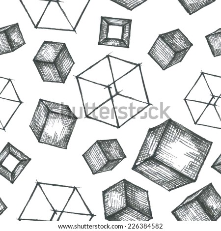 Vector abstract, seamless pattern with hand drawn cubes. Background for use in design, web site, packing, textile, fabric - stock vector