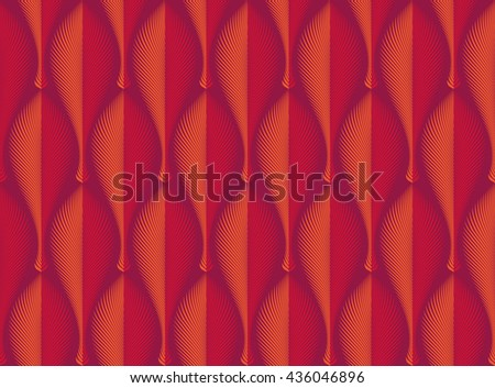 Vector abstract seamless rhythmical geometric red orange pattern. Art deco style. Feather, leaf. Texture for wrapping paper, wallpaper, textile, fabric. Edge, light and shadow. - stock vector