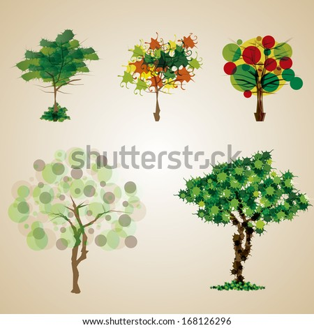 Vector Abstract Set Of Different Trees Isolated