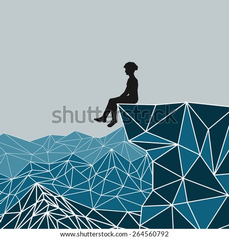 Vector abstract silhouette climber sitting on the edge of the mountain - stock vector