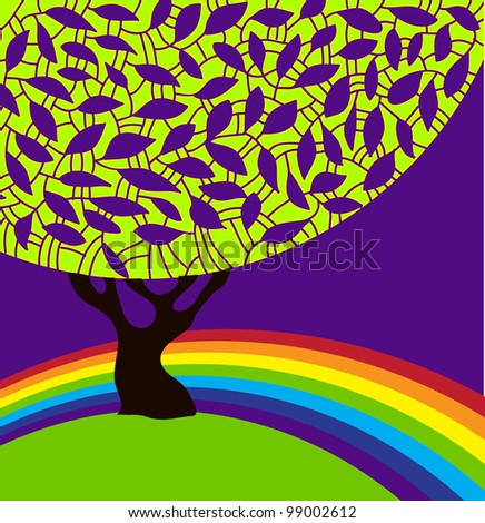 Vector abstract silhouette of a tree with ornamental foliage and rainbow. / Tree and rainbow. - stock vector