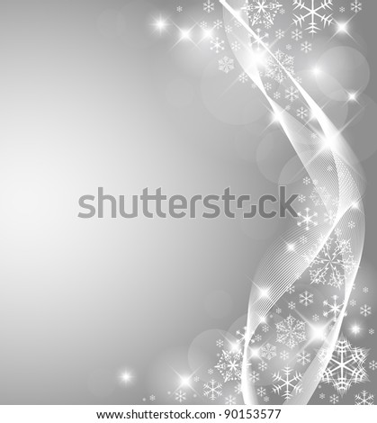 Vector Abstract Silver Christmas card with white snowflakes and lights - stock vector