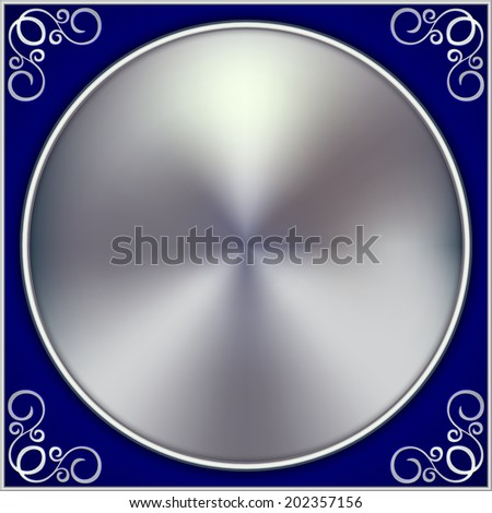 Vector abstract silver circle on blue background with swirls - stock vector