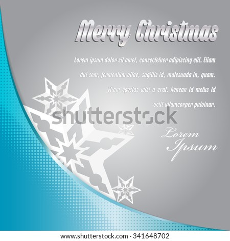 Vector abstract simple background for Merry christmas card or greeting with stars - stock vector