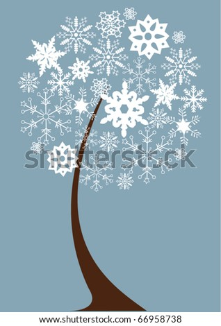 vector abstract snow tree with snowflakes - stock vector