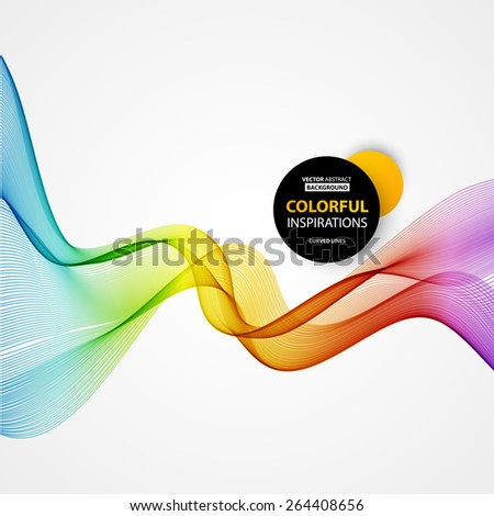 Vector Abstract spectrum curved lines background. Brochure and site design. Colorful wave. - stock vector