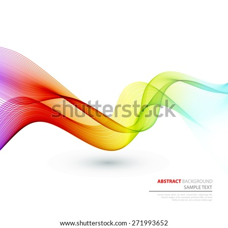 Vector Abstract spectrum curved lines background. Template brochure design. - stock vector