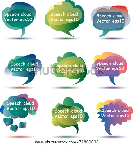 vector abstract speech clouds with sample text in separate layer, eps 10 file - stock vector