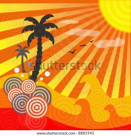 vector abstract summer scene - stock vector