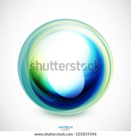 Vector abstract swirl round shape - stock vector