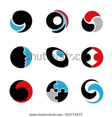 Vector abstract symbol - circle design, abstract globe, human symbol, symbol of friendship or partnership, eye, puzzle - stock vector