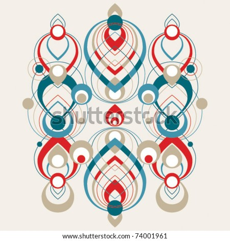 Vector abstract teardrop shape decorative pattern - red - stock vector