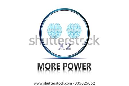 vector abstract tech power double brain design innovation concept - stock vector