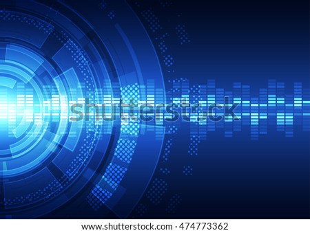 Vector abstract technology background with various technological elements. illustration
