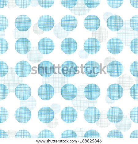 Vector abstract textile blue polka dots stripes seamless pattern background - stock vector