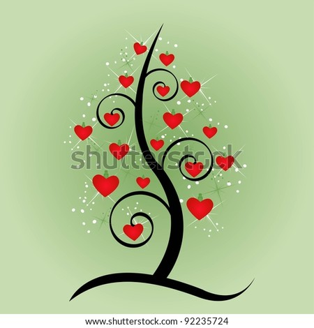 Vector abstract tree with heart