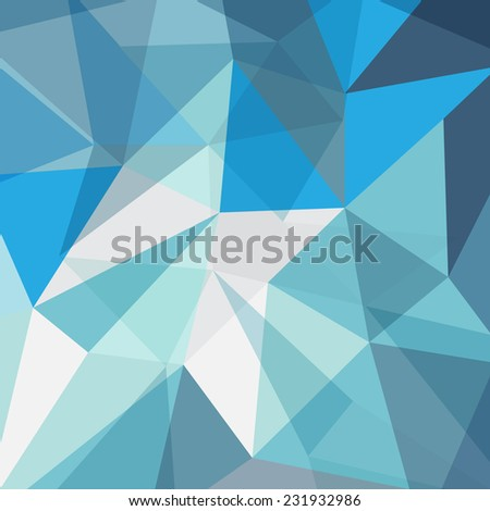 vector abstract triangle blue crystal faceted background, texture - stock vector