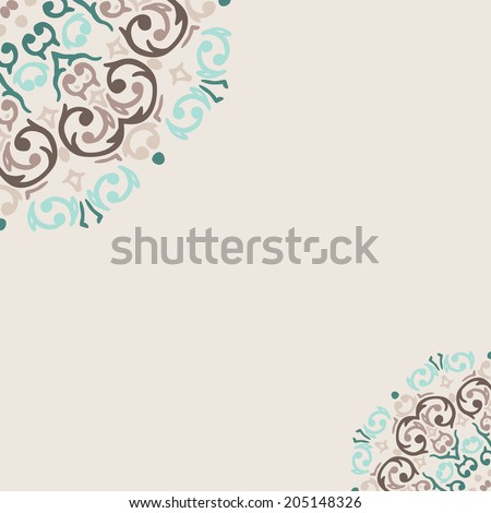 Vector abstract turquoise frame border corner - stock vector