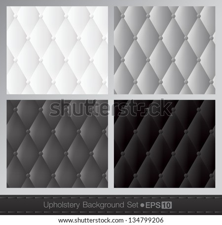 Vector abstract upholstery background. Black and white set. - stock vector