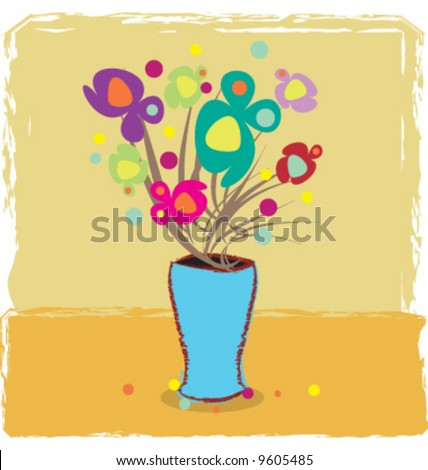 Vector abstract vase with flowers