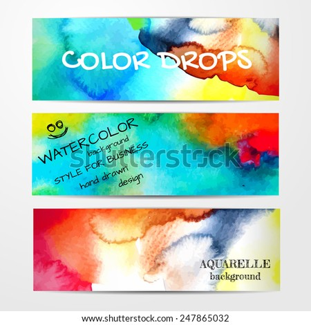 Vector abstract watercolor background. Set of three banners. Hand drawn watercolor backdrop. Eps10 - stock vector