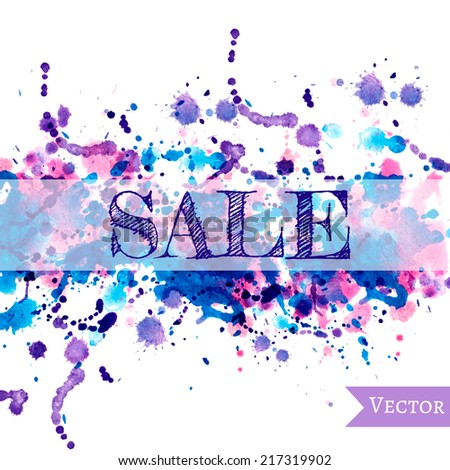 Vector abstract watercolor banner. Blue, cyan, magenta and pink background. Design template with place for your text. Can be used for banners for sale, web pages, printing, invitations, cards, etc. - stock vector