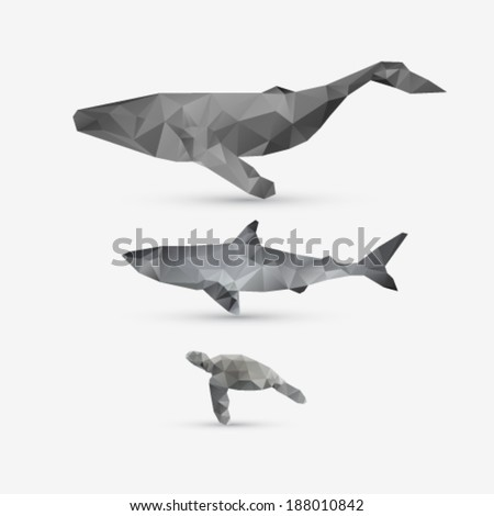 Vector abstract whale, shark, and turtle illustration set - stock vector