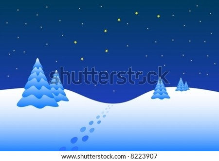 vector abstract winter landscape night