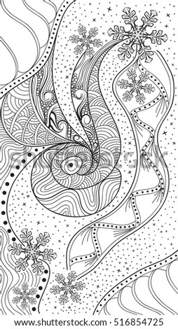 Vector Abstract Winter Zentangle Black White Stock Photo Photo