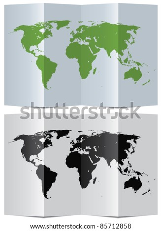 vector abstract world map on folded paper - stock vector