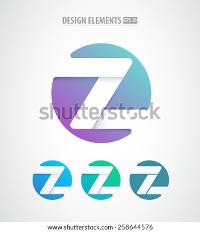 Vector abstract z letter sign isolated on white. Business logo emblem design. - stock vector