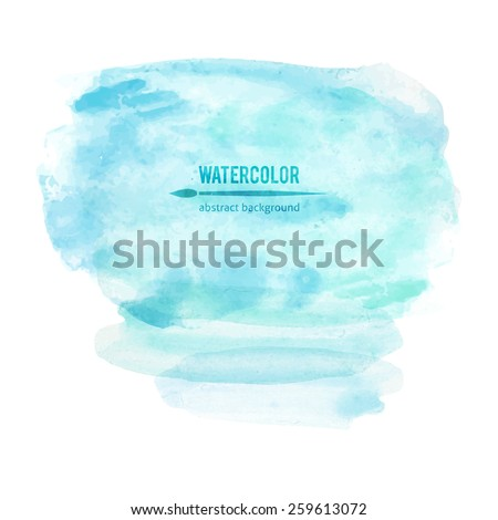 vector abstraction of blue watercolor stain on white background - stock vector